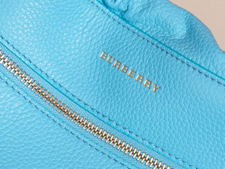 Bright mineral blue The Mini Crush in Grainy Leather Bright Mineral Blue - cell image 1