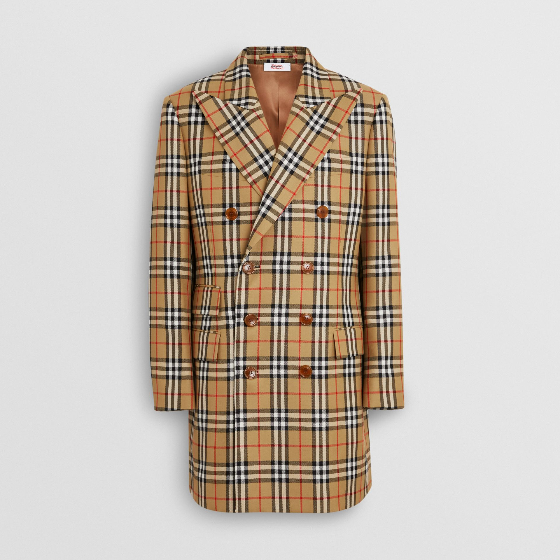 Vintage Check Wool Double-breasted Jacket in Antique Yellow | Burberry Australia - gallery image 3
