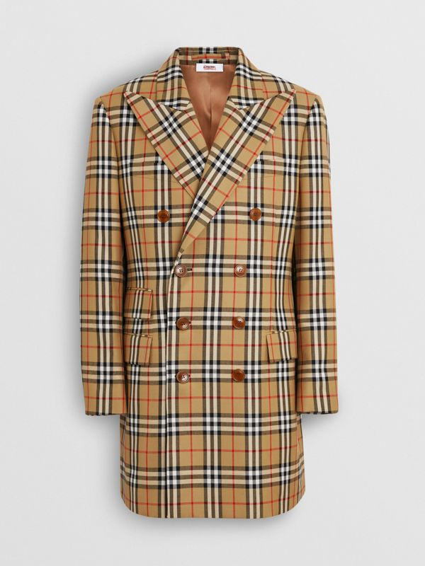 Vintage Check Wool Double-breasted Jacket in Antique Yellow | Burberry Australia - cell image 3