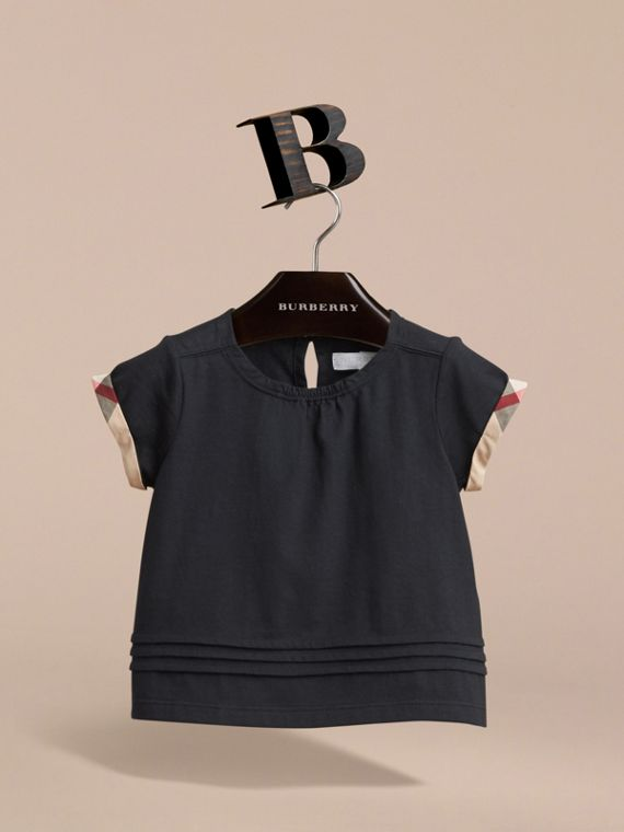 Pleat and Check Detail Cotton T-shirt in Navy | Burberry Canada - cell image 2