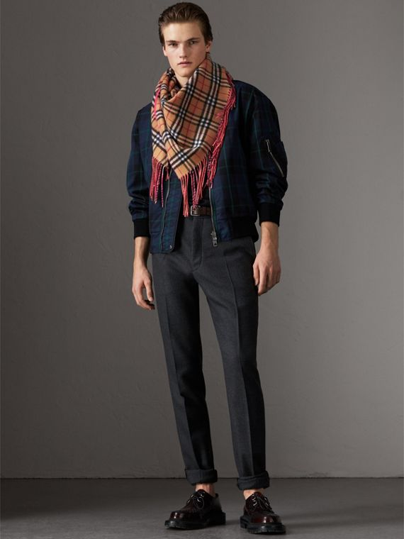 The Burberry Bandana in Vintage Check and Neon Cashmere in Bright Peony | Burberry United Kingdom - cell image 3