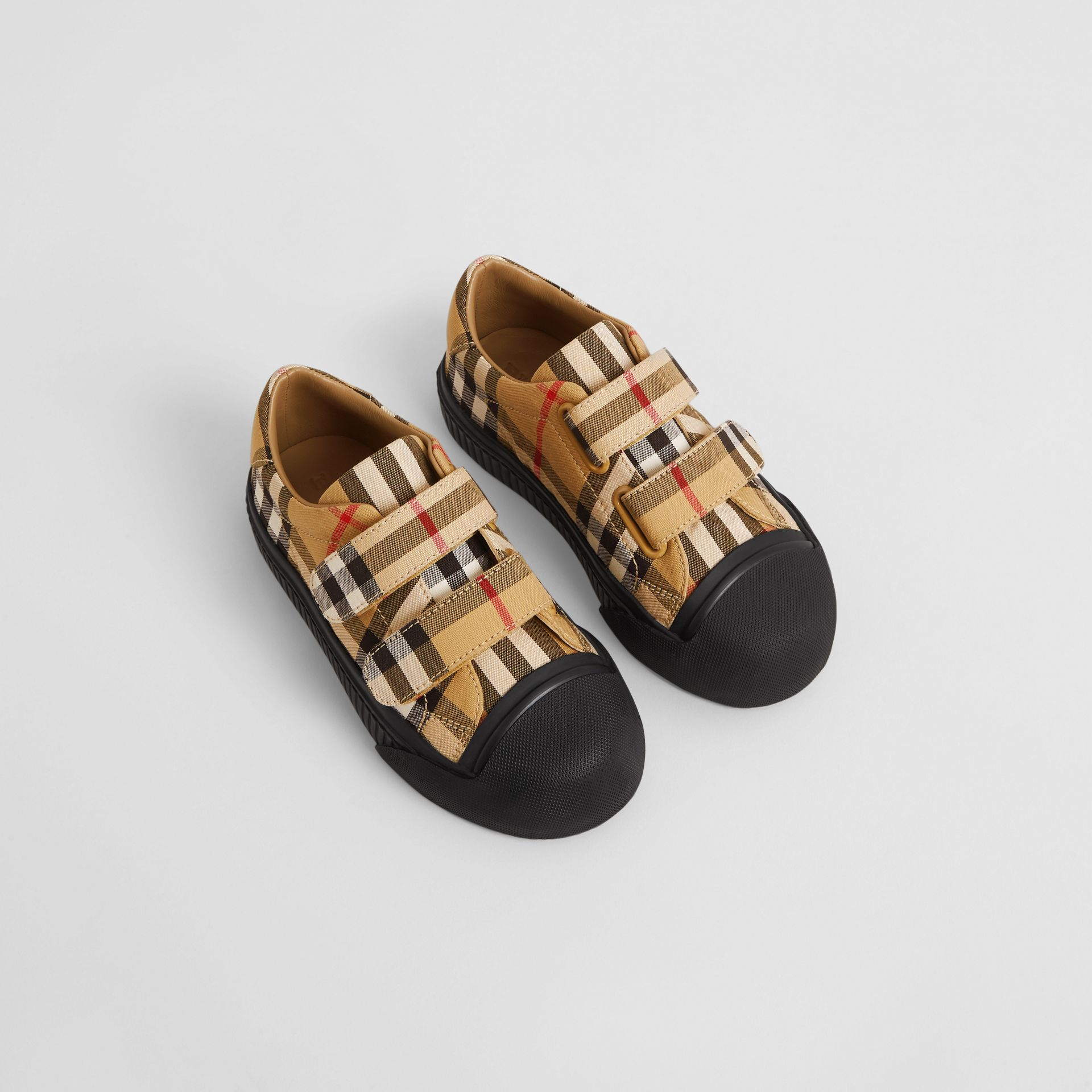 Vintage Check and Leather Sneakers in Antique Yellow/black | Burberry Australia - gallery image 0