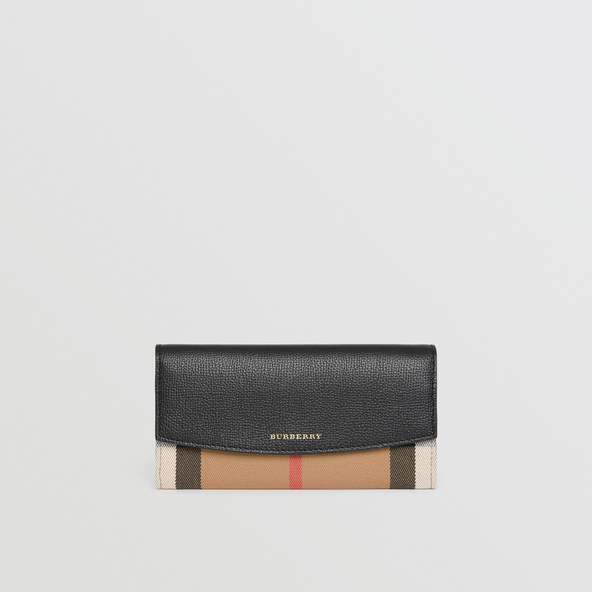 House Check And Leather Continental Wallet in Black - Women | Burberry - gallery image 5