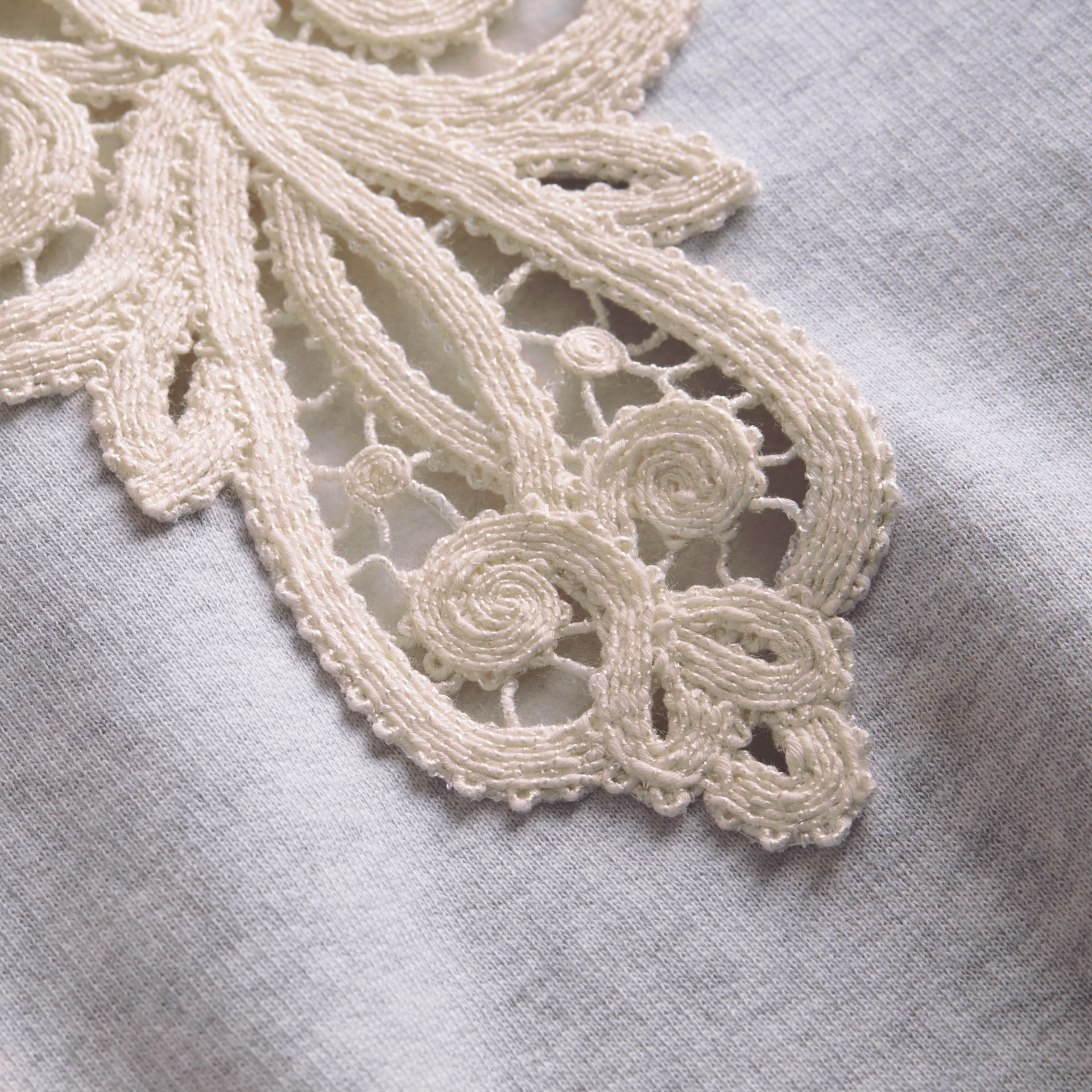 Unisex Lace Cutwork Sweatshirt in Light Grey Melange - Men | Burberry - gallery image 2