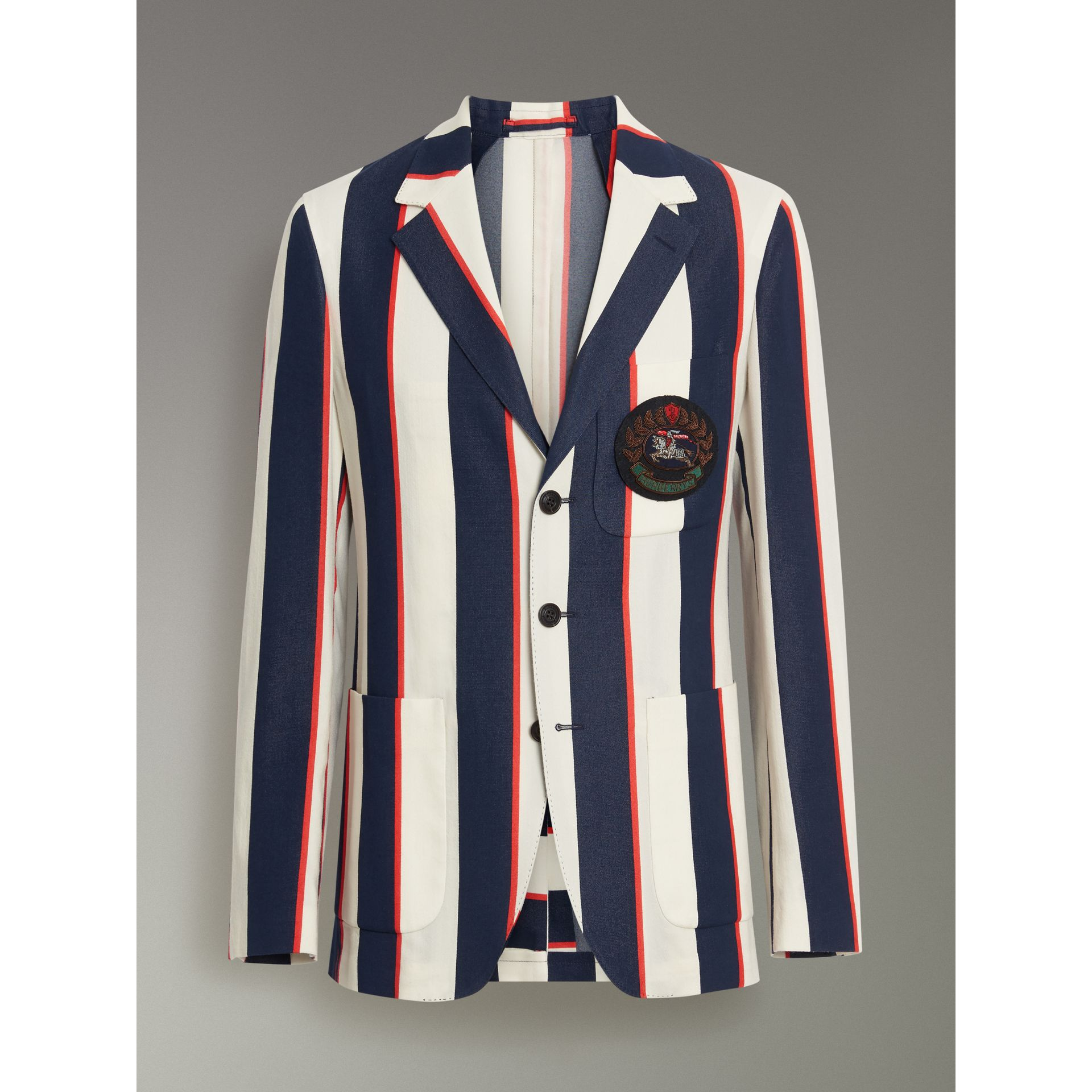 Slim Fit Striped Cotton Blend Club Blazer in Natural White - Men | Burberry United Kingdom - gallery image 3