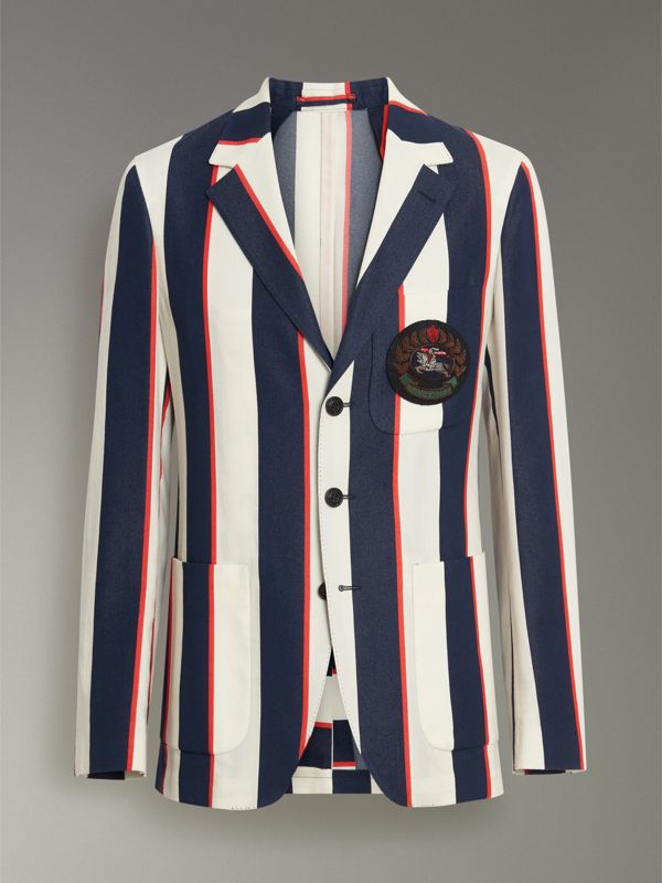Slim Fit Striped Cotton Blend Club Blazer in Natural White - Men | Burberry United Kingdom - cell image 3