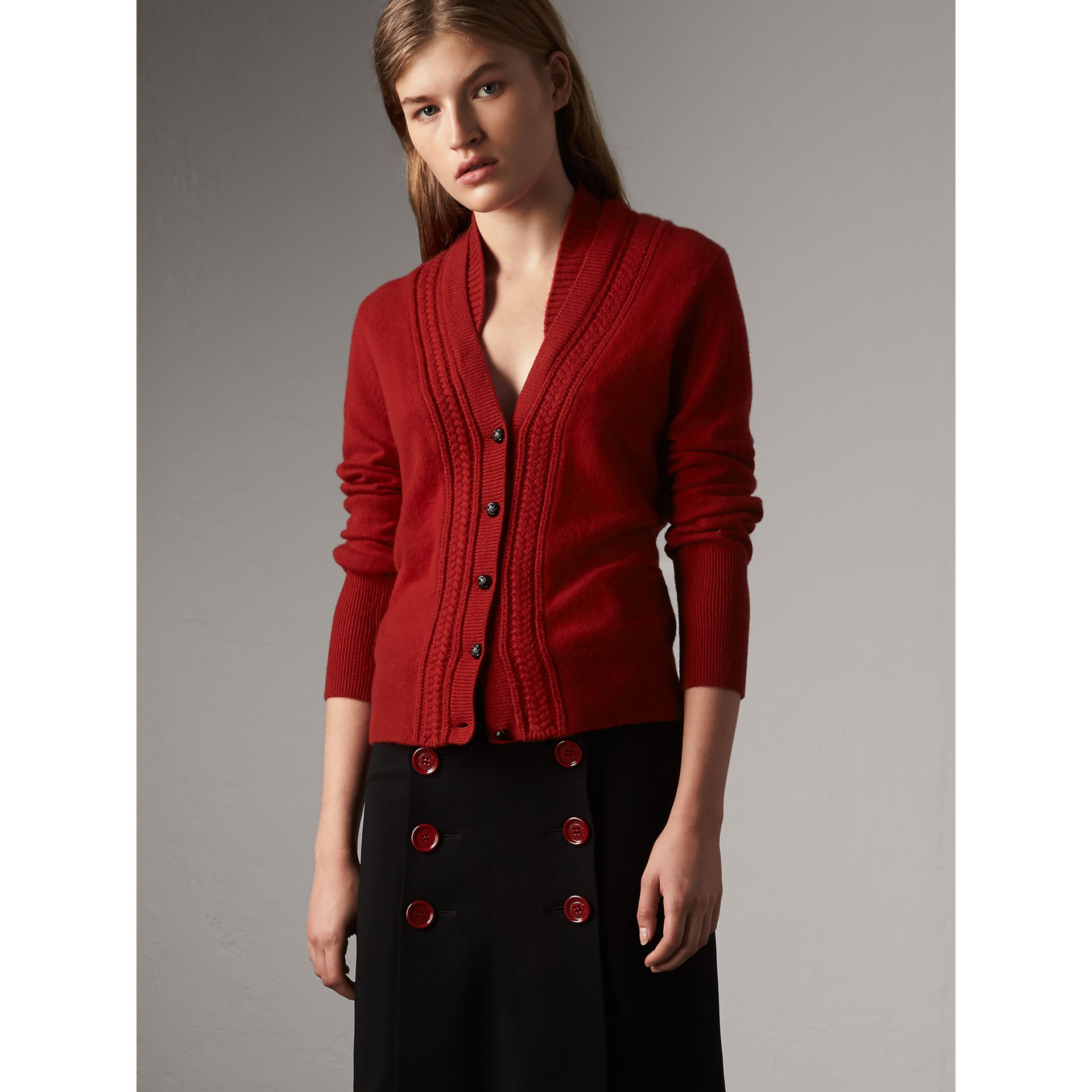 Cable Knit Detail Cashmere Cardigan in Military Red - Women | Burberry Canada - gallery image 4