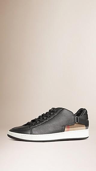 Sneaker in pelle con motivo House check e cinturini