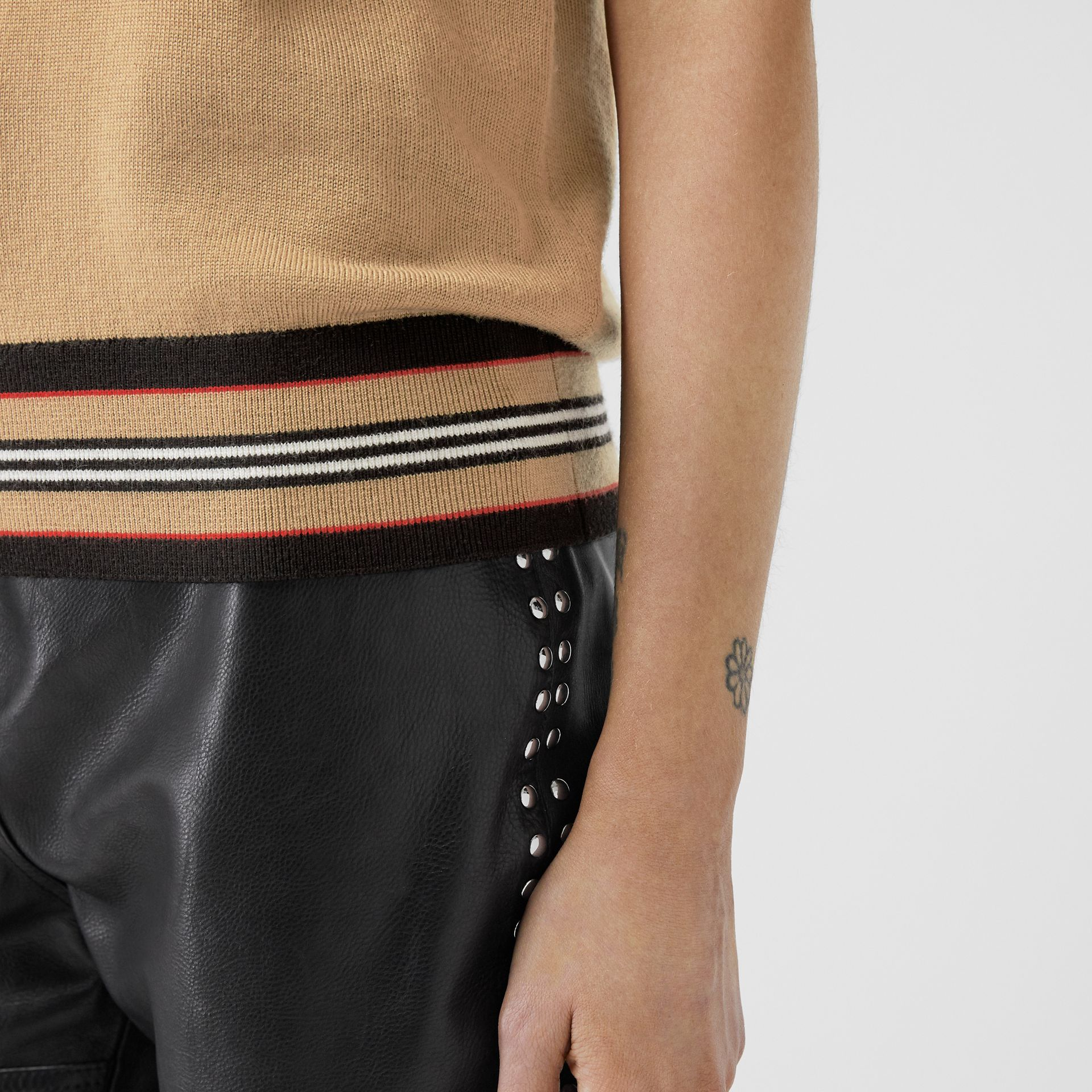 Short-sleeve Icon Stripe Detail Merino Wool Top in Camel - Women | Burberry Canada - gallery image 3