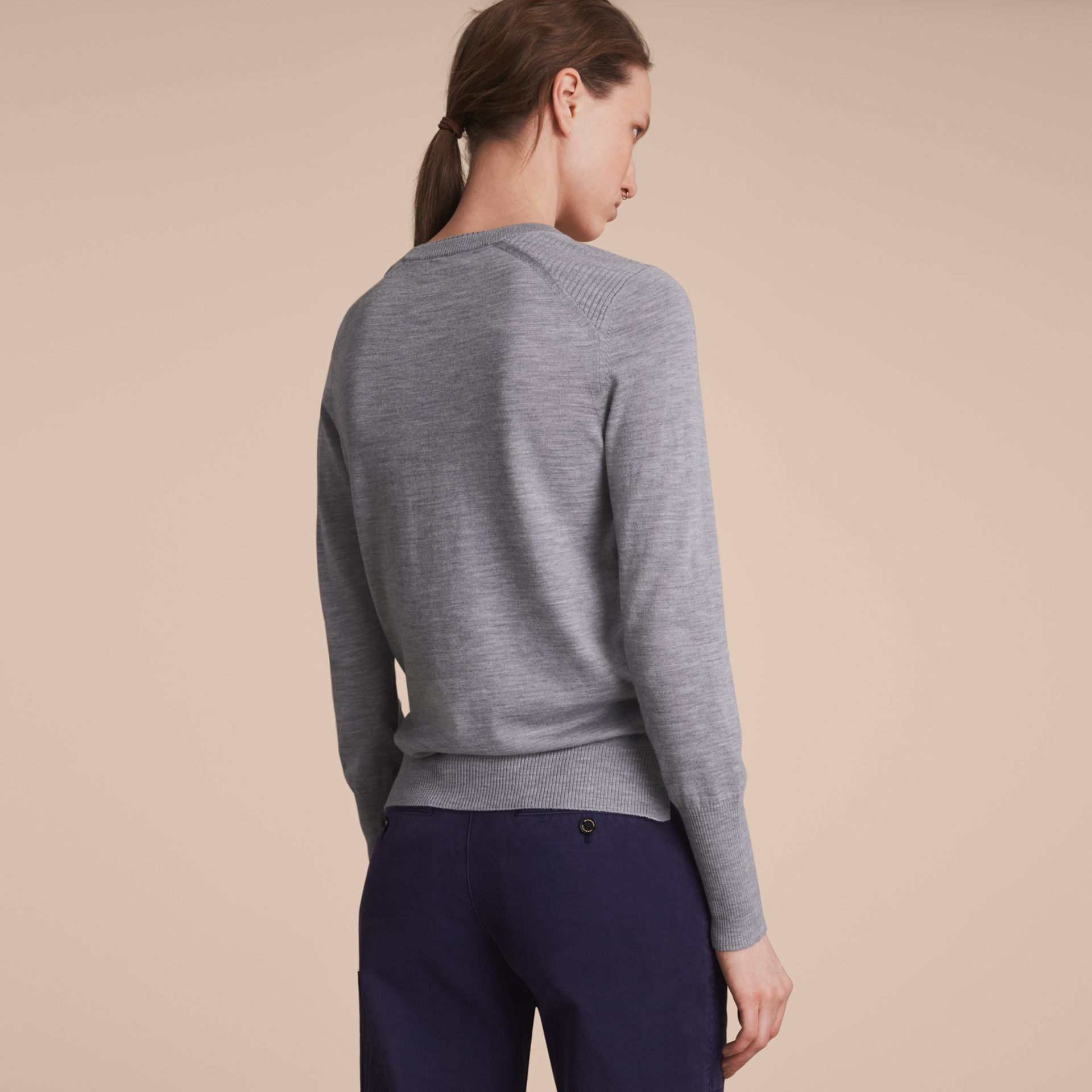 Check Detail Merino Wool Sweater in Mid Grey Melange - Women | Burberry - gallery image 3