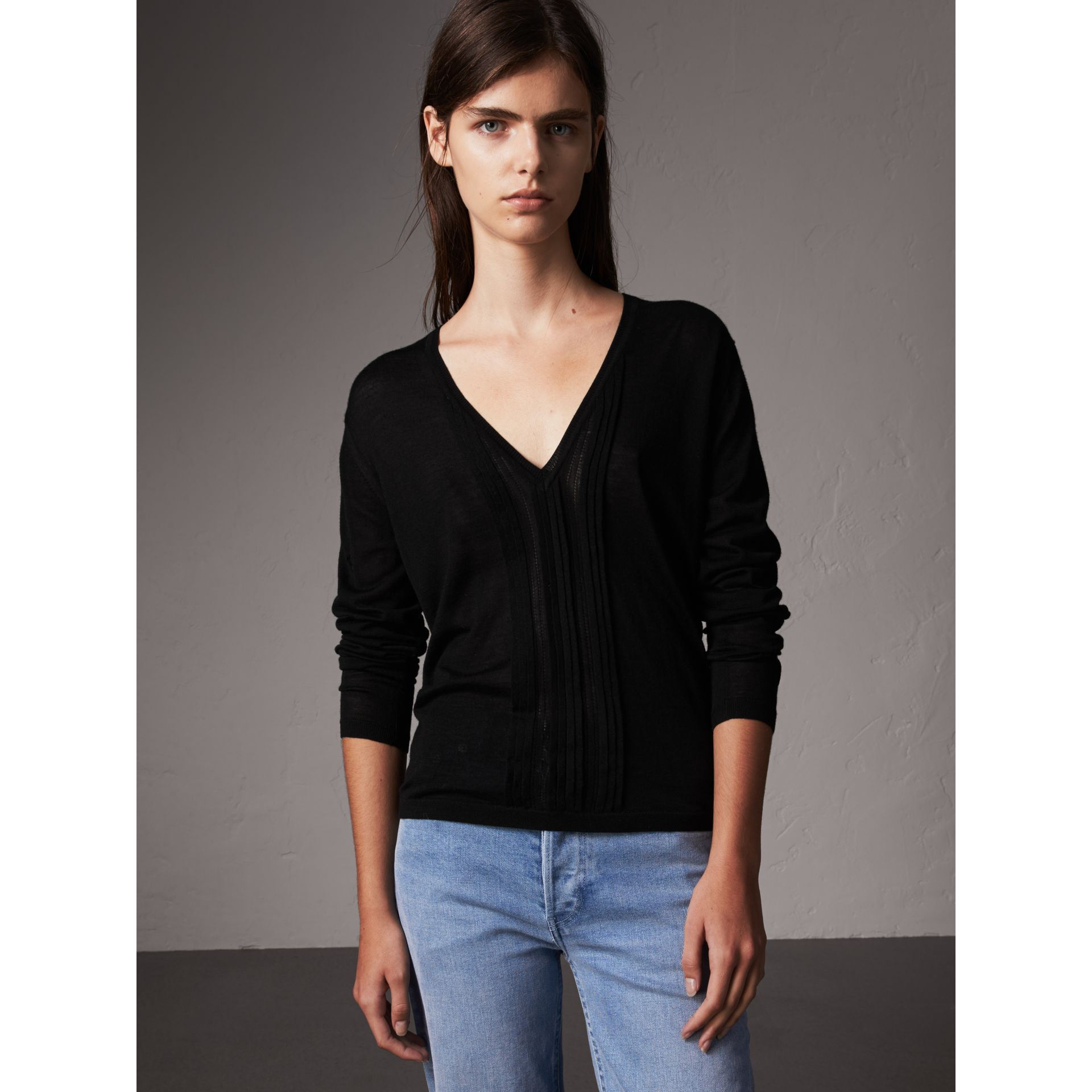 Pintuck Detail Cashmere V-neck Sweater in Black - Women | Burberry - gallery image 0