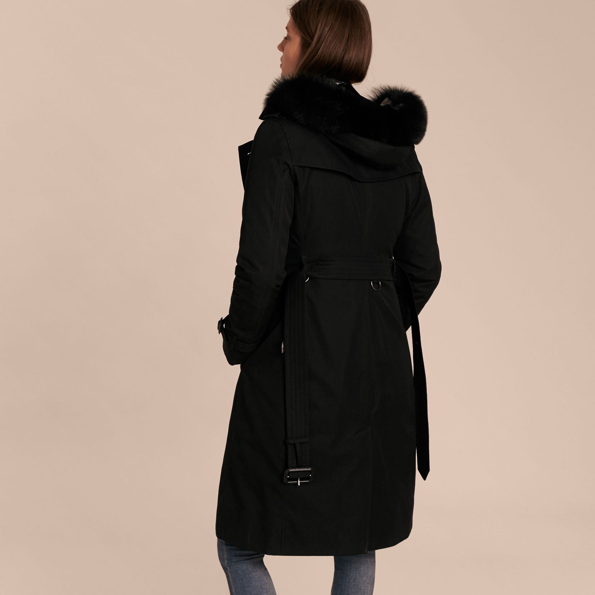 Black Fur-trimmed Hood Trench Coat with Detachable Warmer Black - gallery image 3
