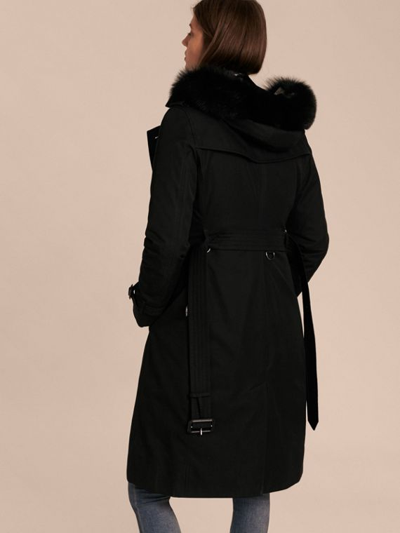 Black Fur-trimmed Hood Trench Coat with Detachable Warmer Black - cell image 2