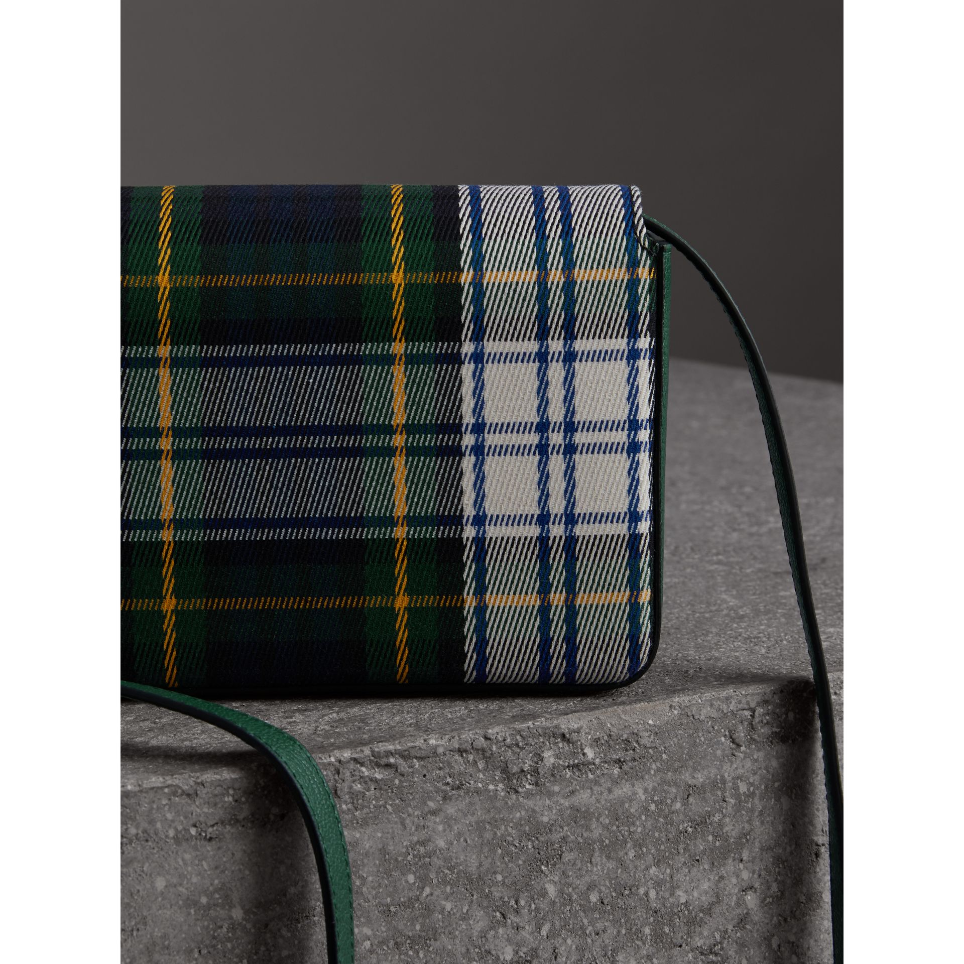Tartan and Leather Wallet with Detachable Strap in Green/multicolour - Women | Burberry Australia - gallery image 3