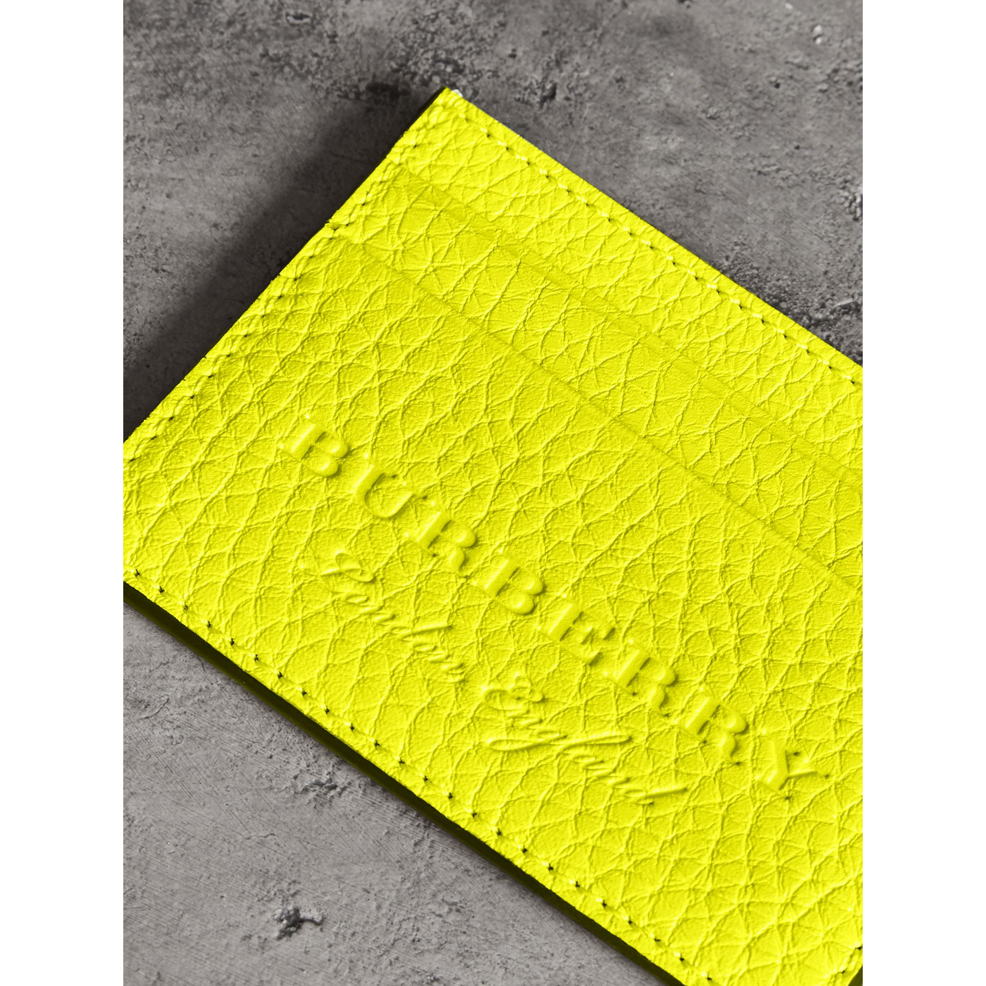 Embossed Textured Leather Card Case in Neon Yellow | Burberry - gallery image 1