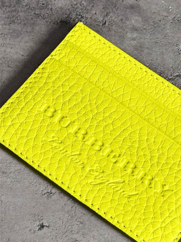 Embossed Textured Leather Card Case in Neon Yellow | Burberry - cell image 1