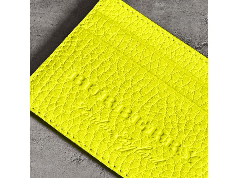 Embossed Textured Leather Card Case in Neon Yellow | Burberry Canada - cell image 1