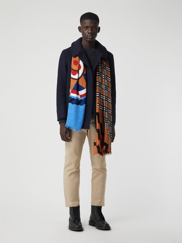 Vintage Check Graphic Wool Silk Cashmere Scarf in Cornflower Blue | Burberry United Kingdom - cell image 3