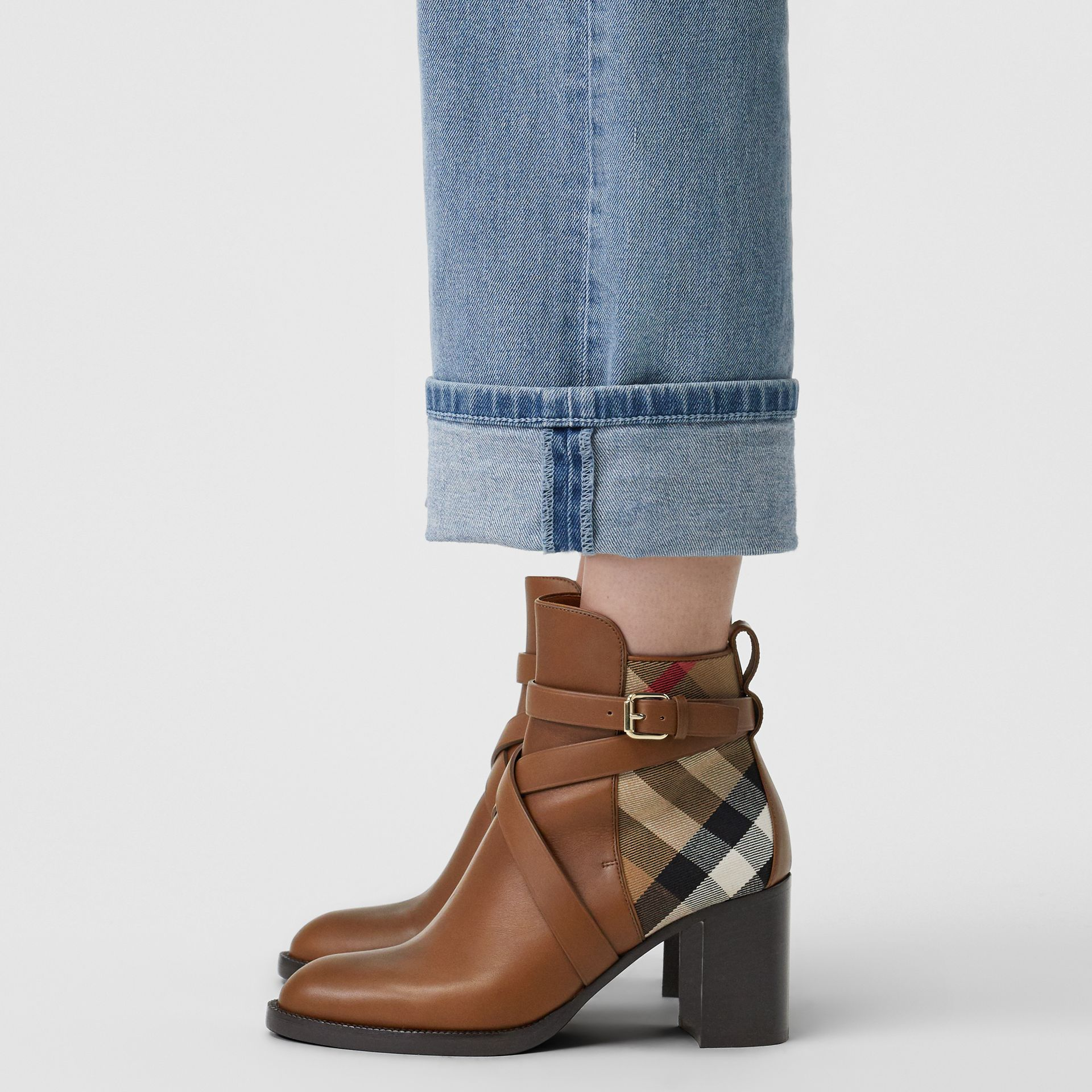 House Check and Leather Ankle Boots in Bright Camel - Women | Burberry United States - gallery image 2