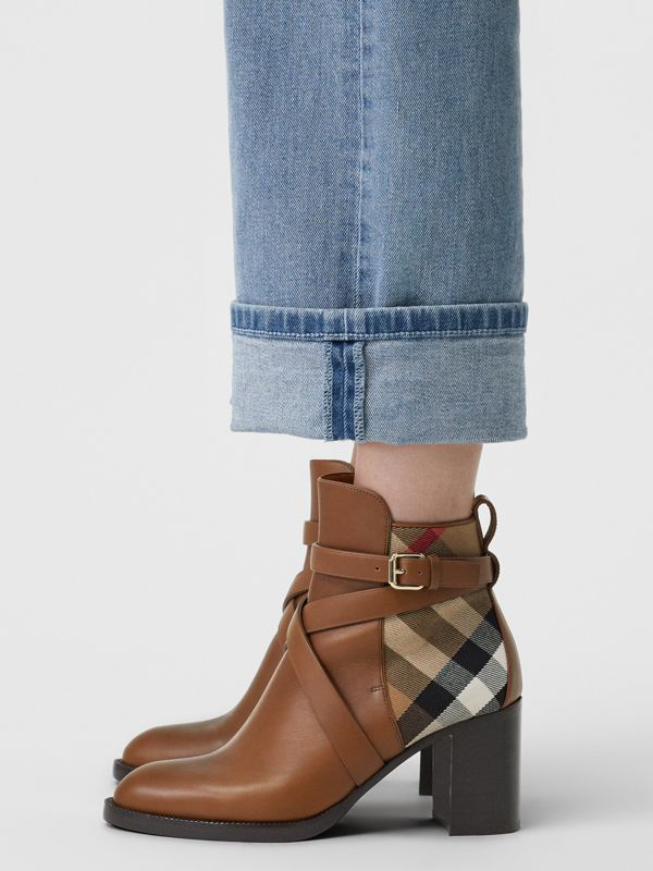 House Check and Leather Ankle Boots in Bright Camel - Women | Burberry Hong Kong - cell image 2
