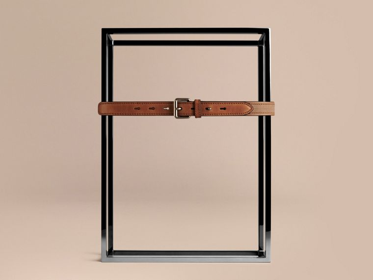 Tan Canvas Check and Leather Belt - cell image 1