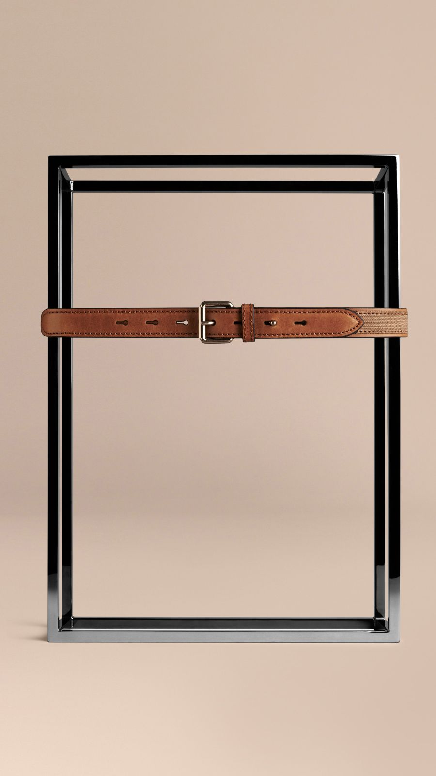Tan Canvas Check and Leather Belt - Image 2