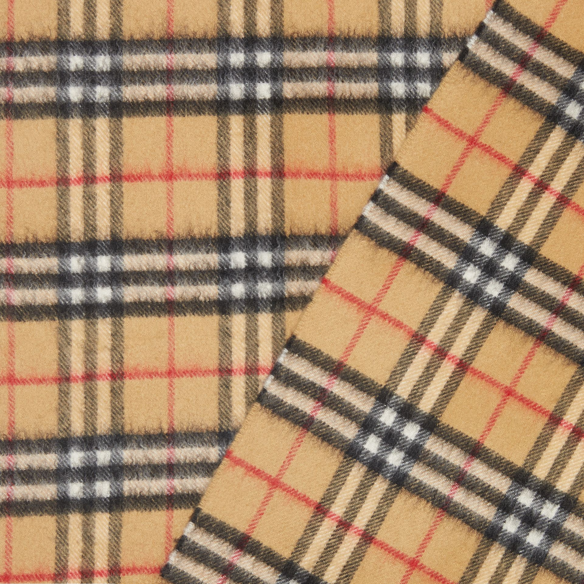 The Classic Vintage Check Cashmere Scarf in Antique Yellow | Burberry Australia - gallery image 1