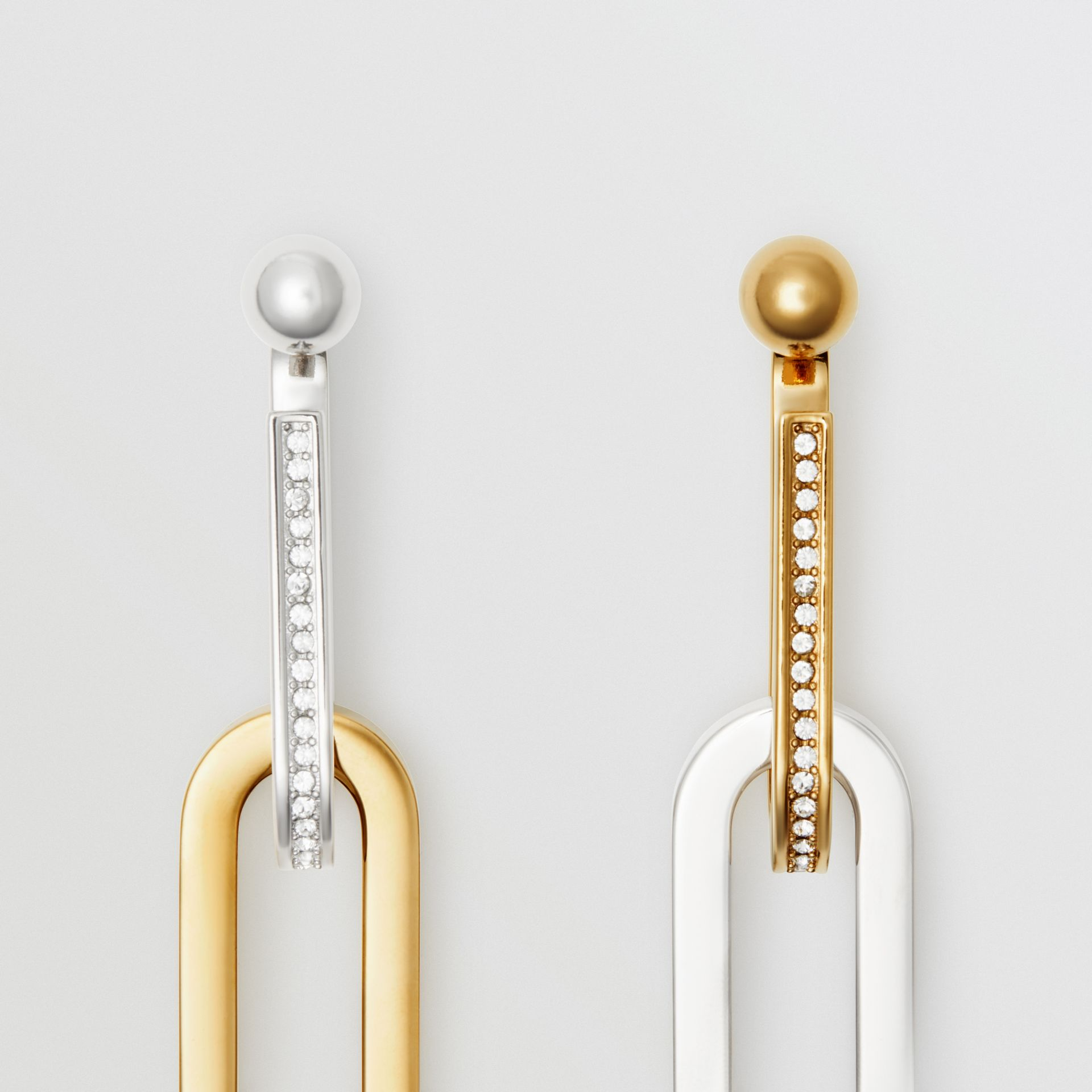 Crystal, Gold and Palladium-plated Link Drop Earrings in Light Gold/palladio - Women | Burberry - gallery image 3