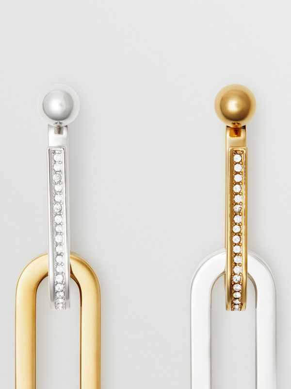 Crystal, Gold and Palladium-plated Link Drop Earrings in Light Gold/palladio - Women | Burberry - cell image 3