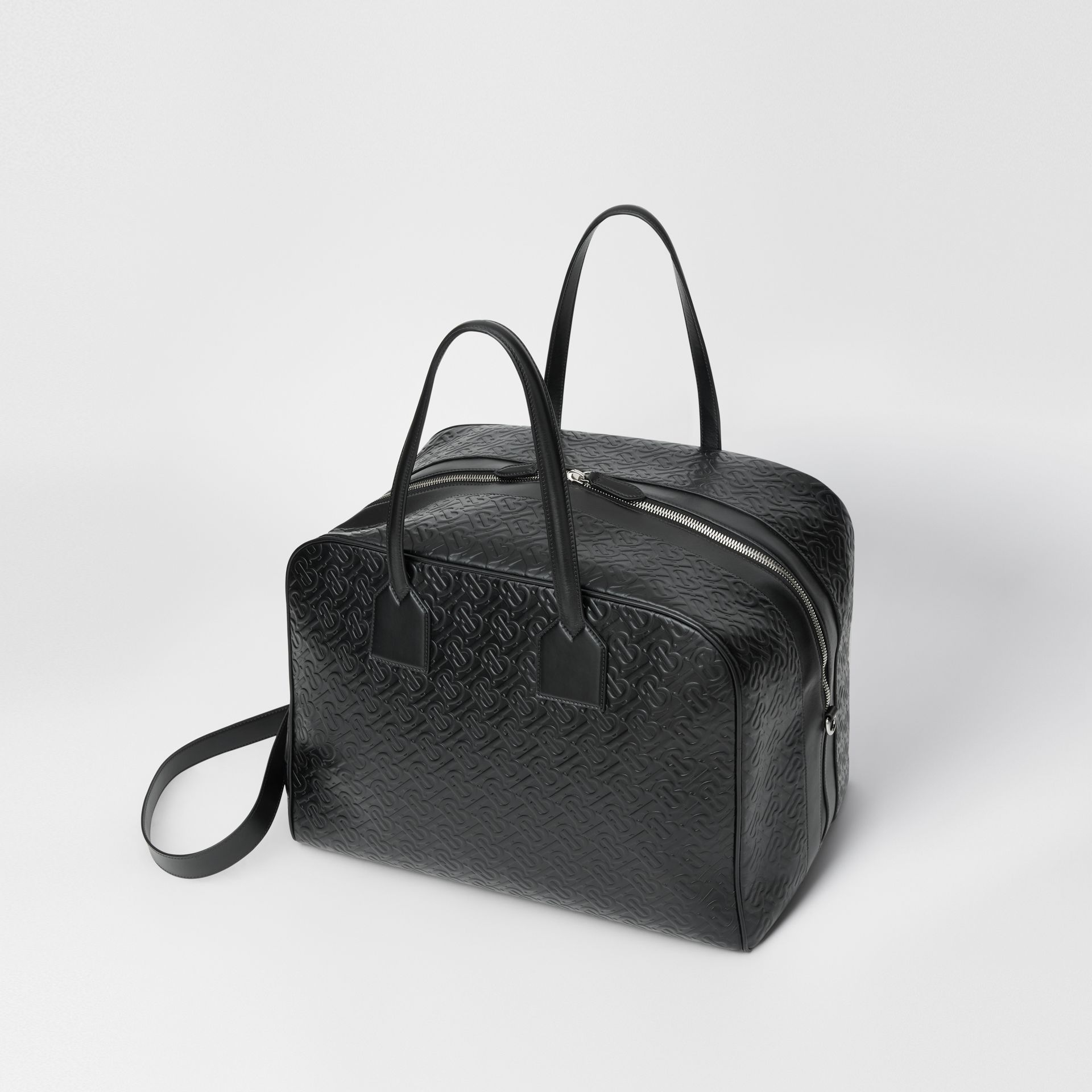 Large Monogram Leather Cube Bag in Black - Men | Burberry - gallery image 3