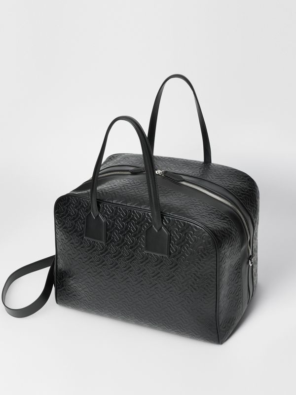 Large Monogram Leather Cube Bag in Black - Men | Burberry Singapore - cell image 3