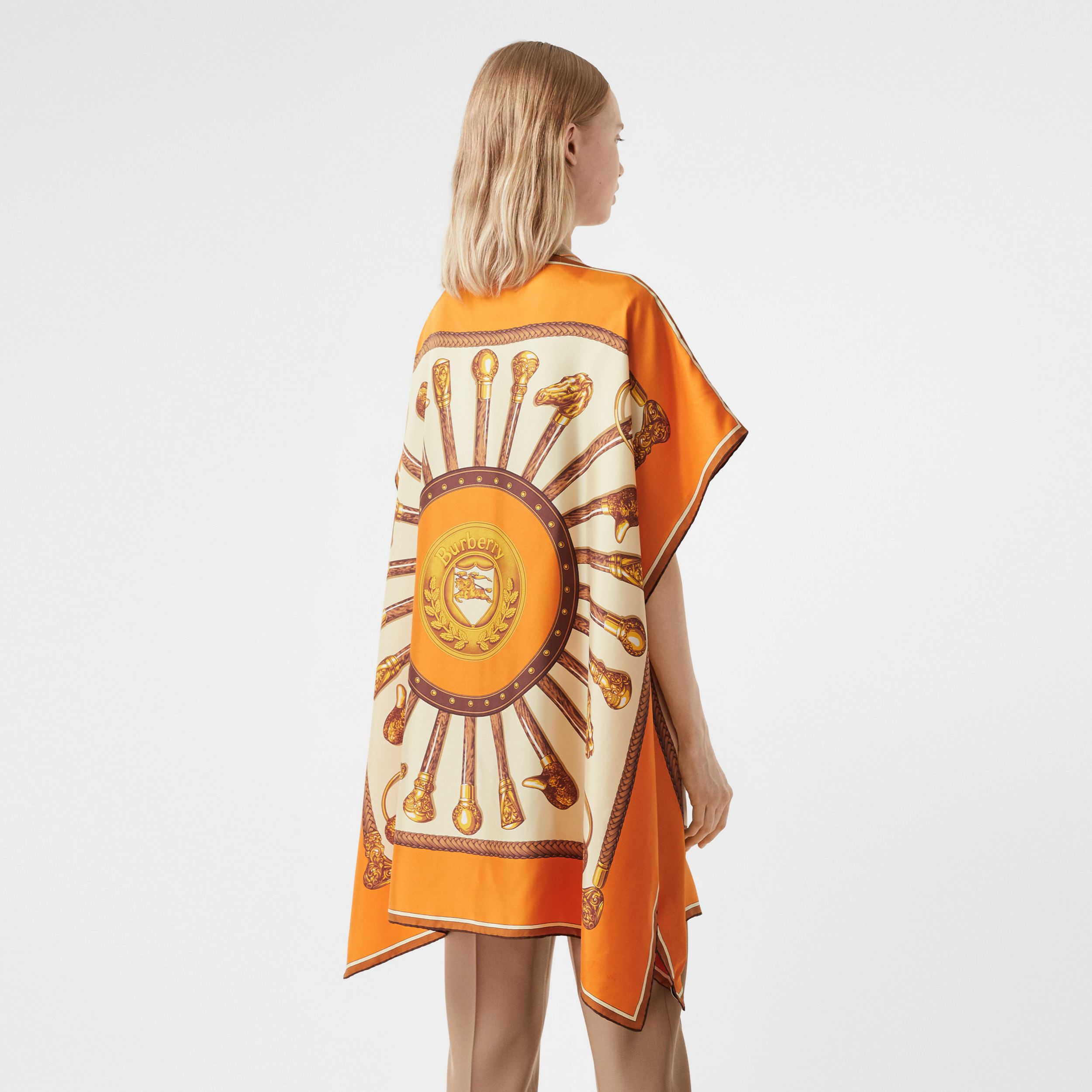 Archive Scarf Print Silk Twill Cape in Bright Orange - Women | Burberry - 3