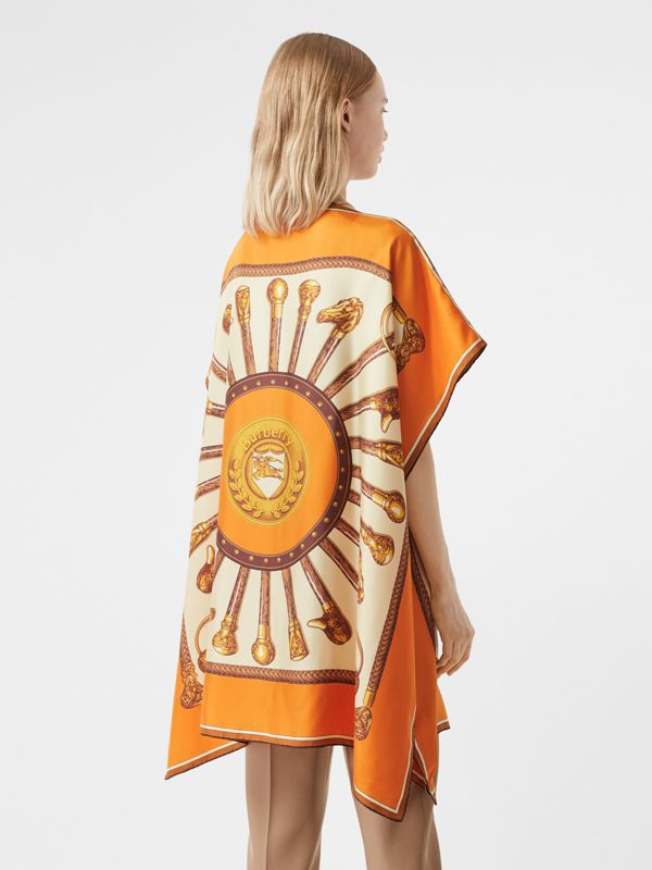 Archive Scarf Print Silk Twill Cape in Bright Orange - Women | Burberry United States - cell image 2