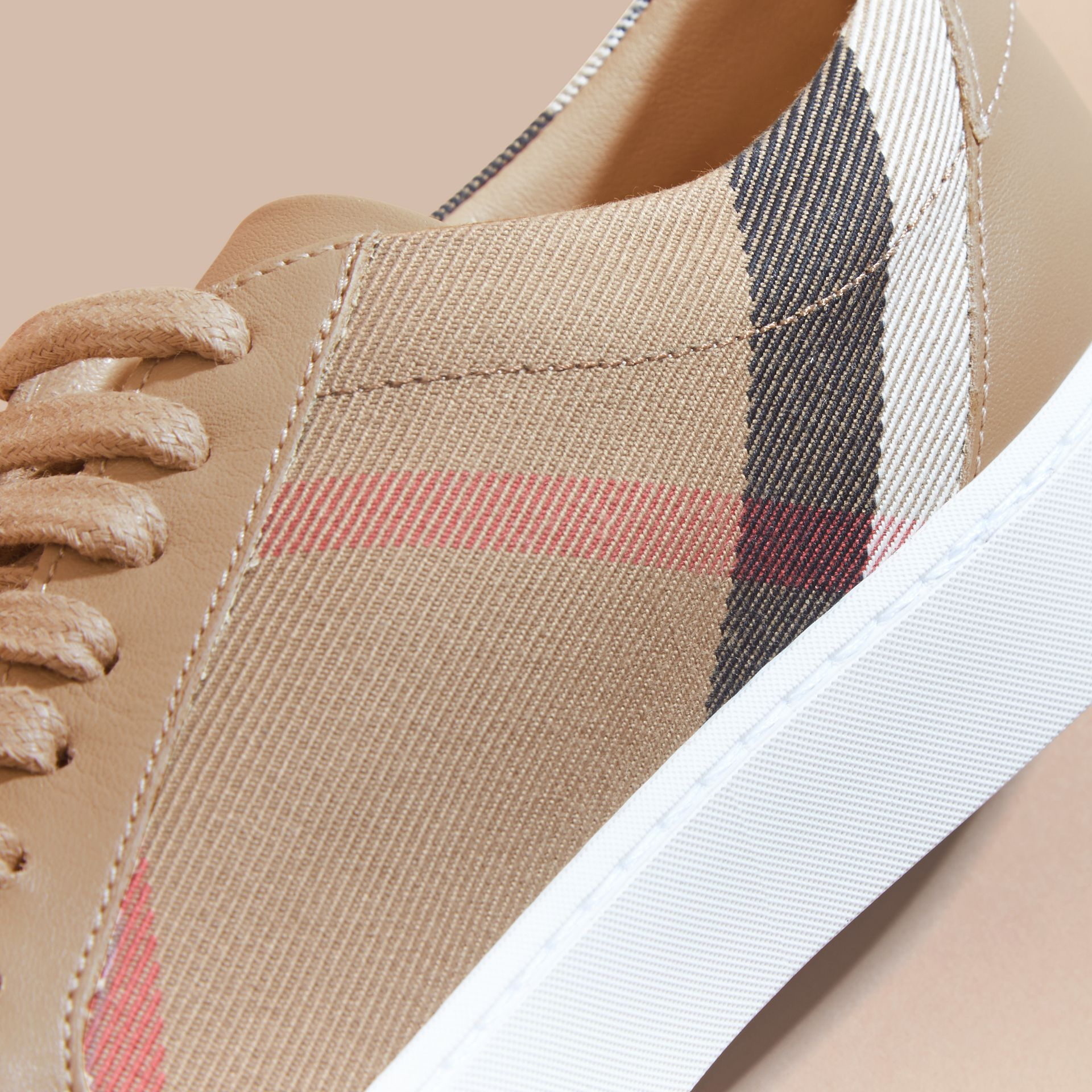 House check/ nude Check Detail Leather Sneakers House Check/ Nude - gallery image 2