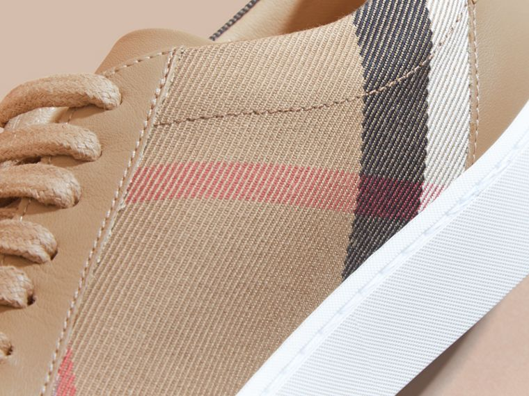 Check Detail Leather Trainers in House Check/ Nude - Women | Burberry - cell image 1