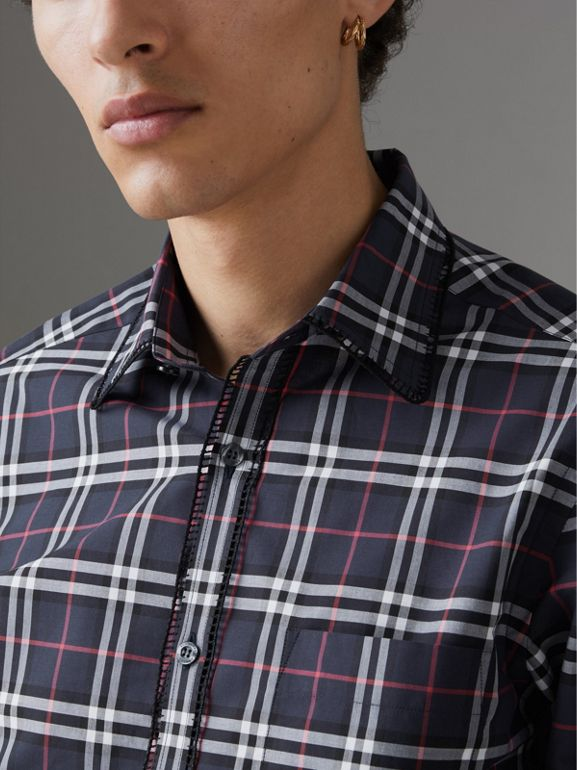 Embroidered Detail Check Cotton Shirt in Navy - Men | Burberry - cell image 1