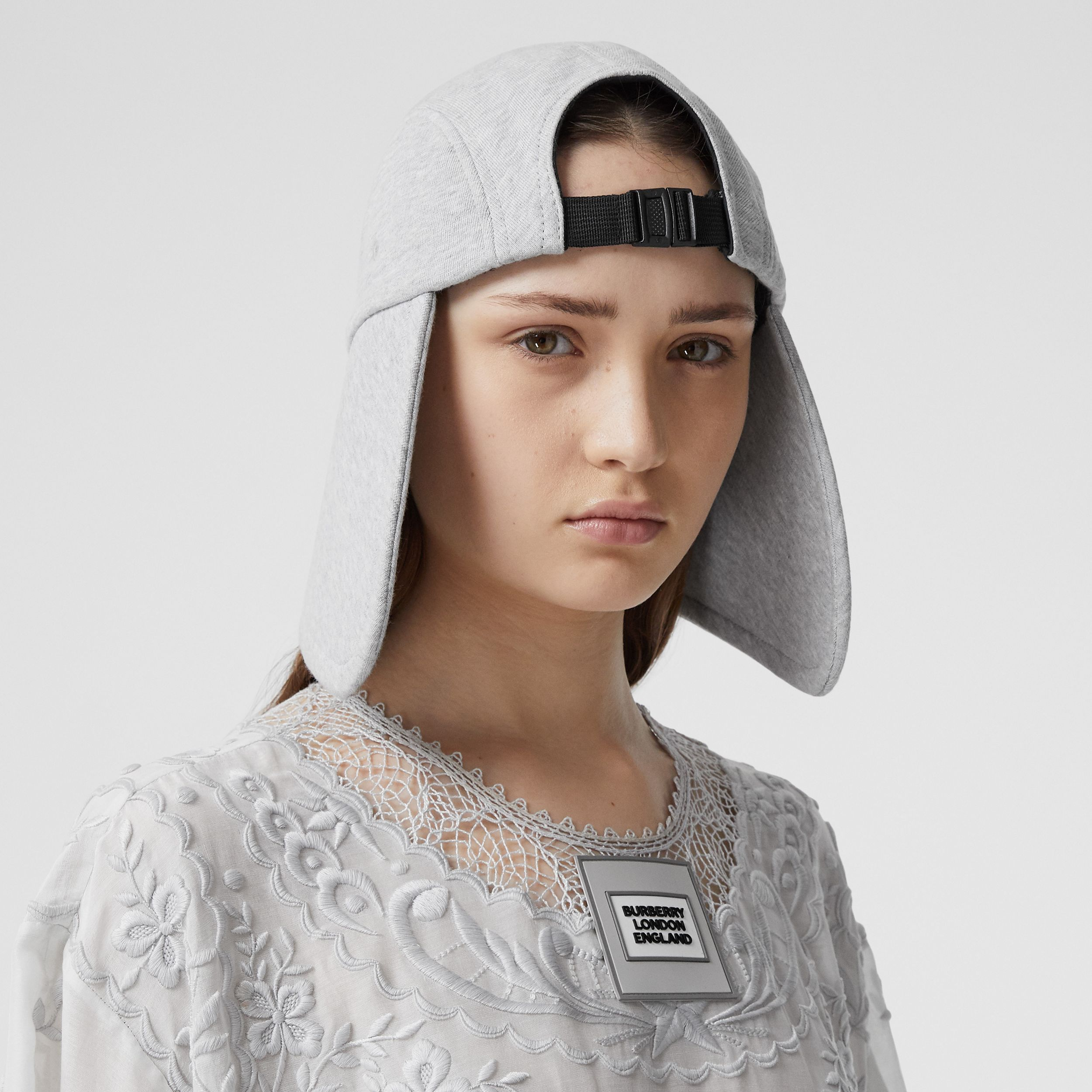 Logo Appliqué Cotton Jersey Bonnet Cap in Light Pebble Grey | Burberry - 2