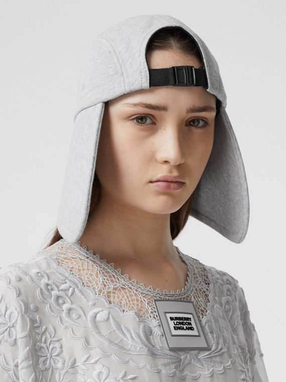 Logo Appliqué Cotton Jersey Bonnet Cap in Light Pebble Grey