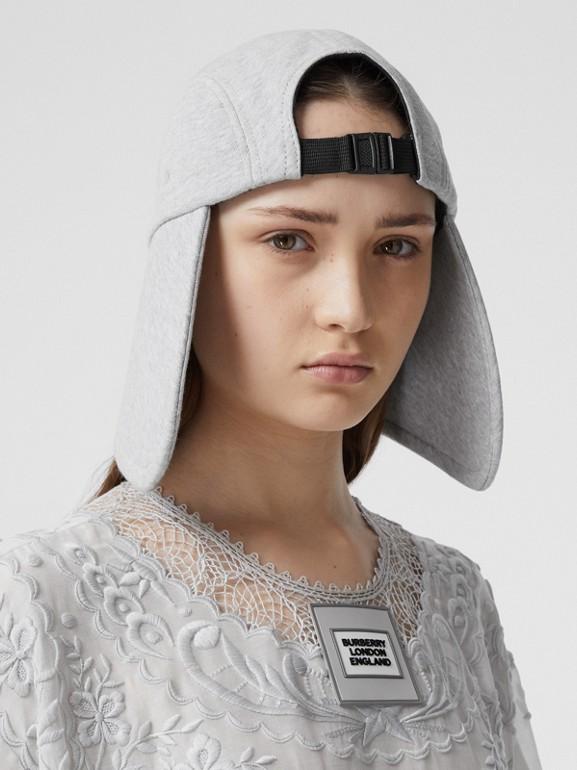 Logo Appliqué Cotton Jersey Bonnet Cap in Light Pebble Grey | Burberry - cell image 1