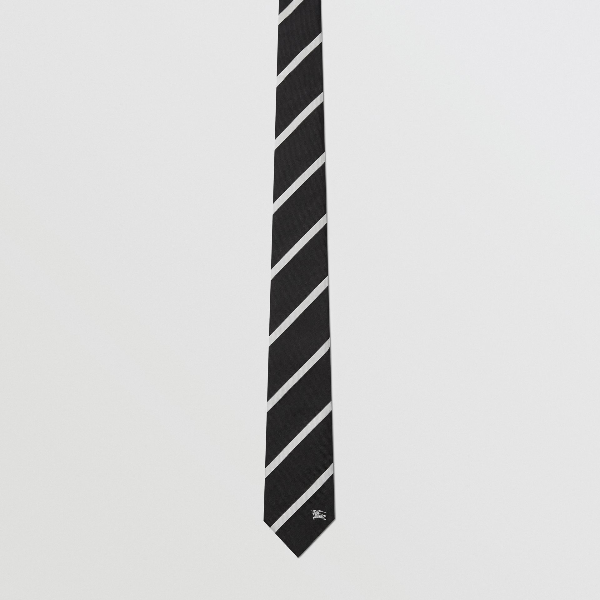 Slim Cut Striped Silk Twill Tie in Black - Men | Burberry - gallery image 4