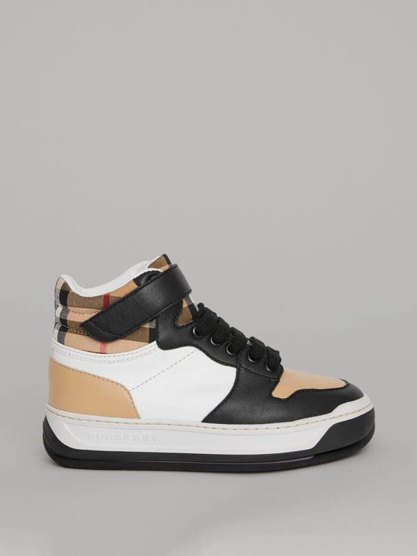 Vintage Check and Leather High-top Sneakers in Antique Yellow - Children | Burberry - cell image 3