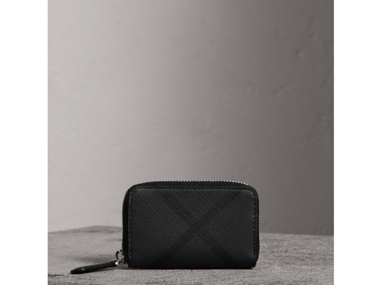 London Check Ziparound Coin Case in Black/charcoal - Men | Burberry Singapore - cell image 4
