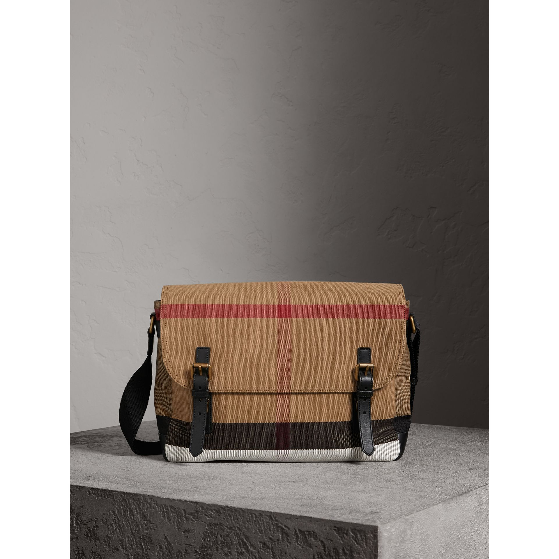 Large Leather Trim Canvas Check Messenger Bag in Black - Men | Burberry Australia - gallery image 0