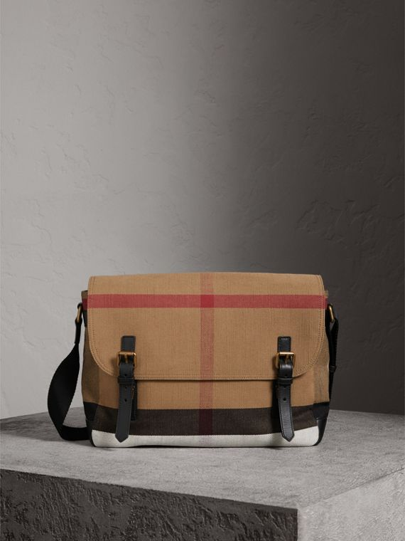 Large Leather Trim Canvas Check Messenger Bag in Black