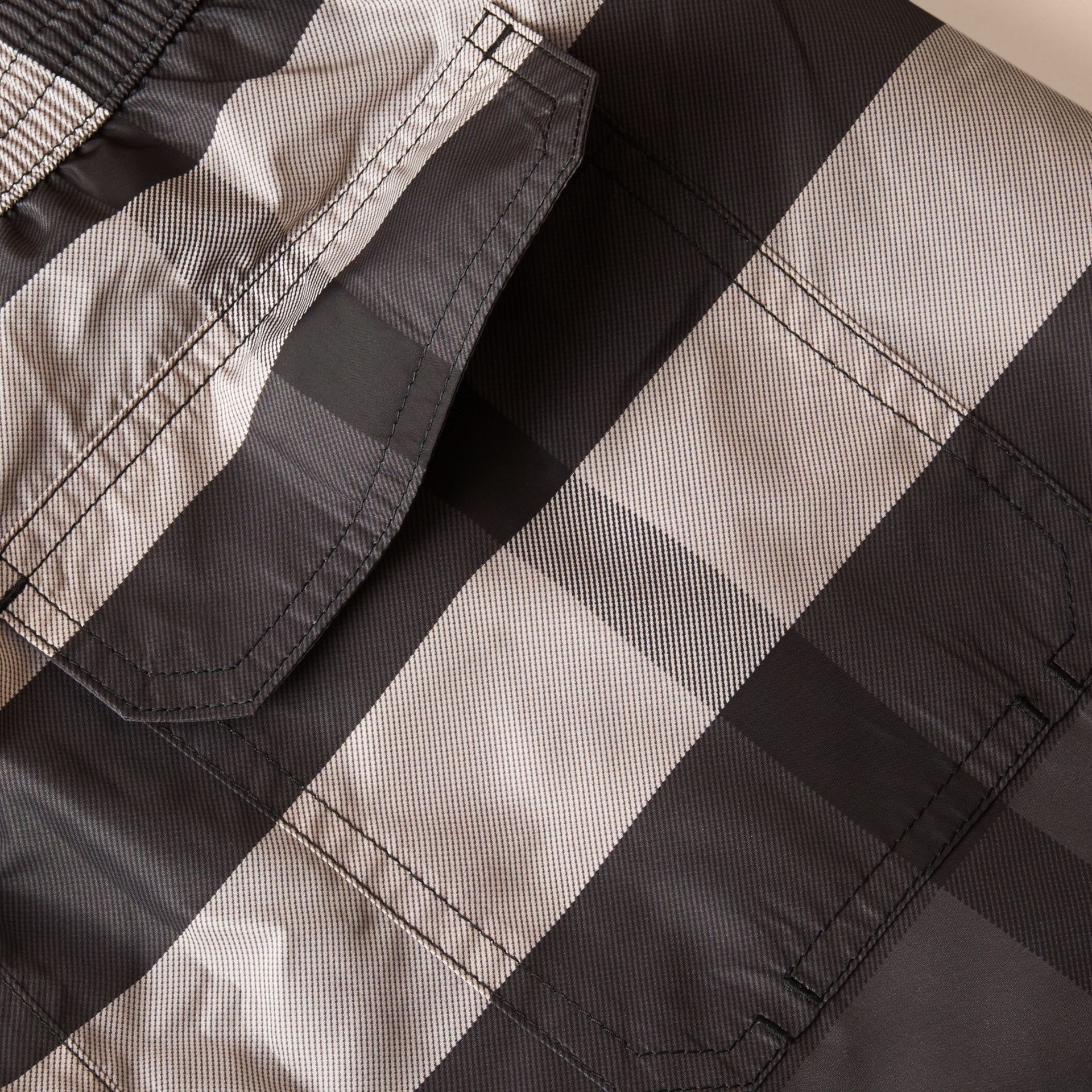 Check Swim Shorts in Charcoal - Men | Burberry Canada - gallery image 1