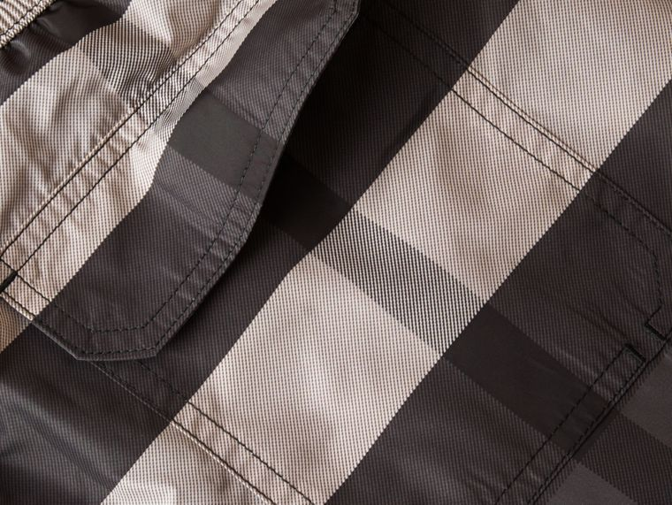 Check Swim Shorts in Charcoal - Men | Burberry - cell image 1
