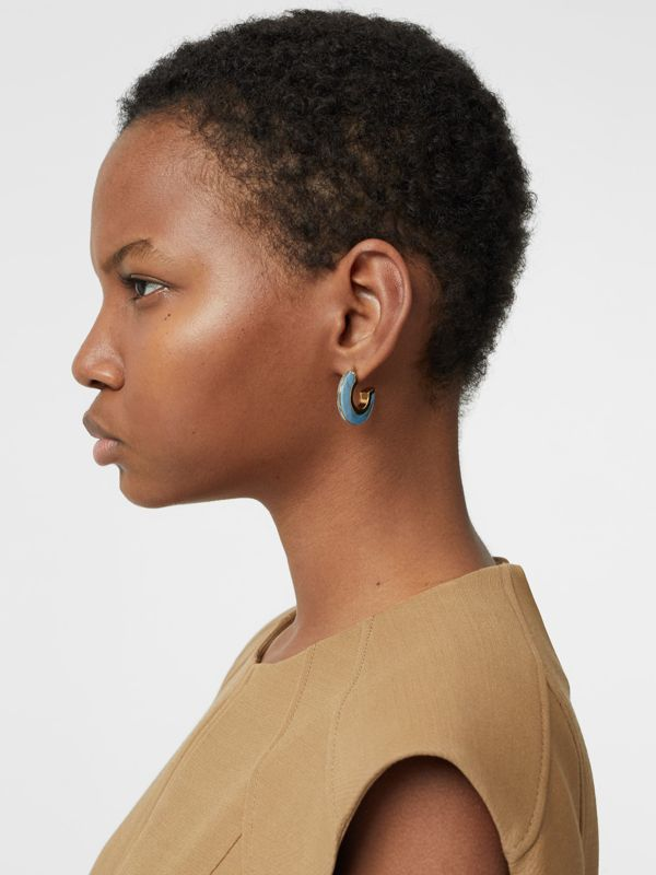 Marbled Resin Gold-plated Hoop Earrings in Light Gold/robin Blue - Women | Burberry - cell image 2