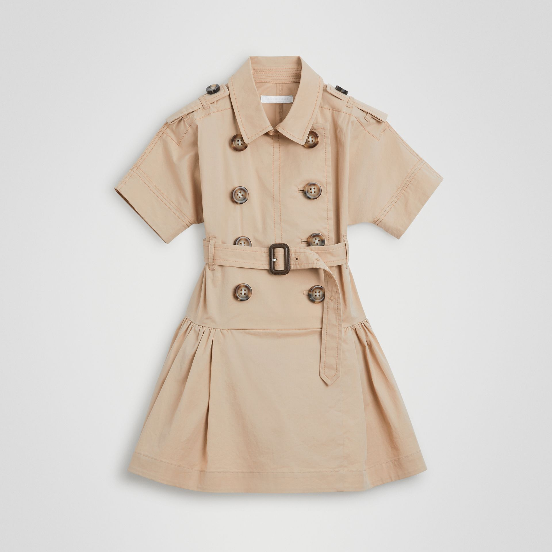 Stretch Cotton Trench Dress in Honey | Burberry - gallery image 0