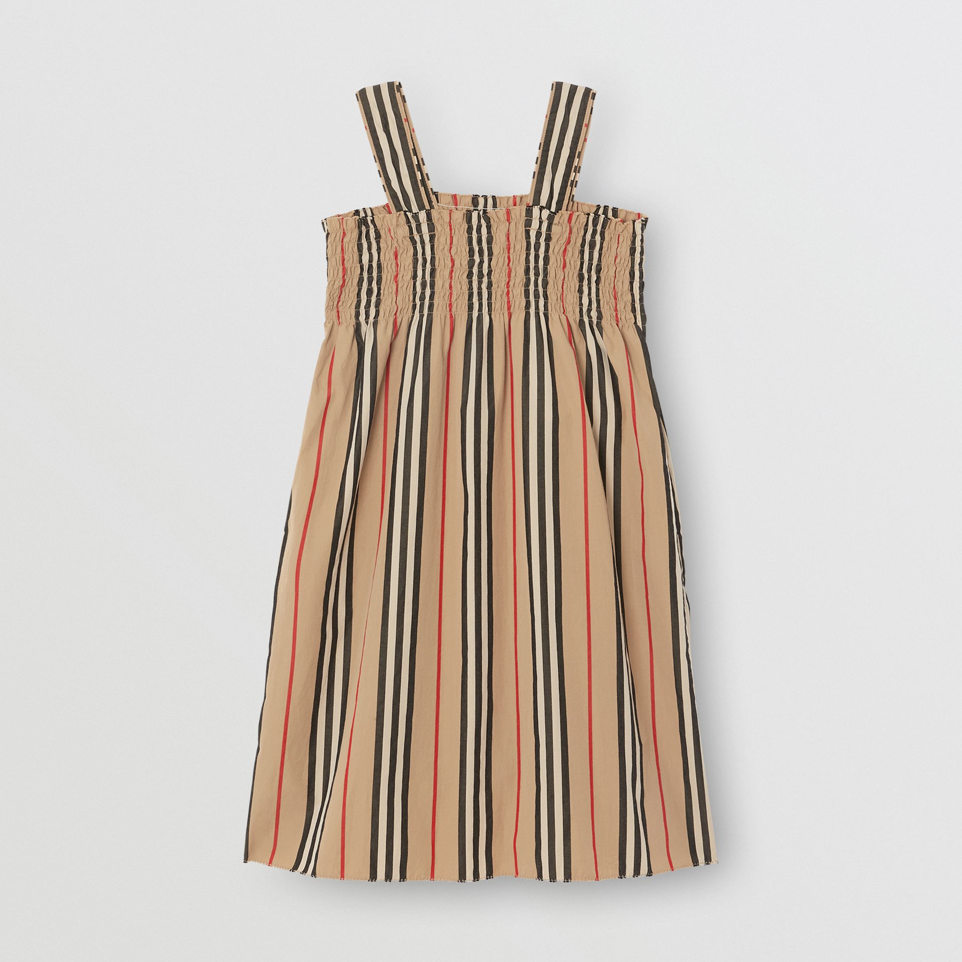 Smocked Icon Stripe Cotton Dress in Archive Beige | Burberry - gallery image 3