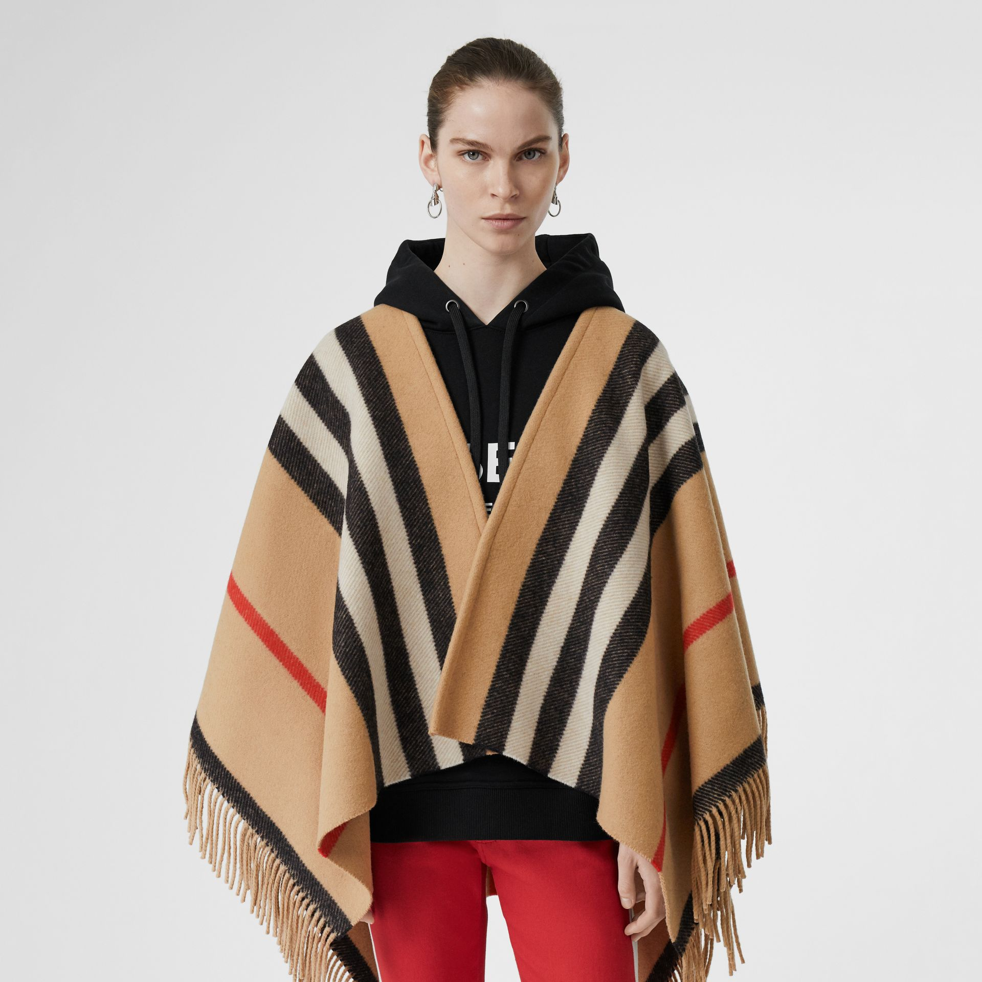 Striped Wool Cape in Camel - Women | Burberry Australia - gallery image 6